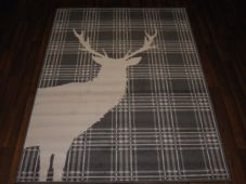 Modern Approx 6x4ft 120x170cm Woven Backed Stag Rugs Sale Top Quality Grey Check